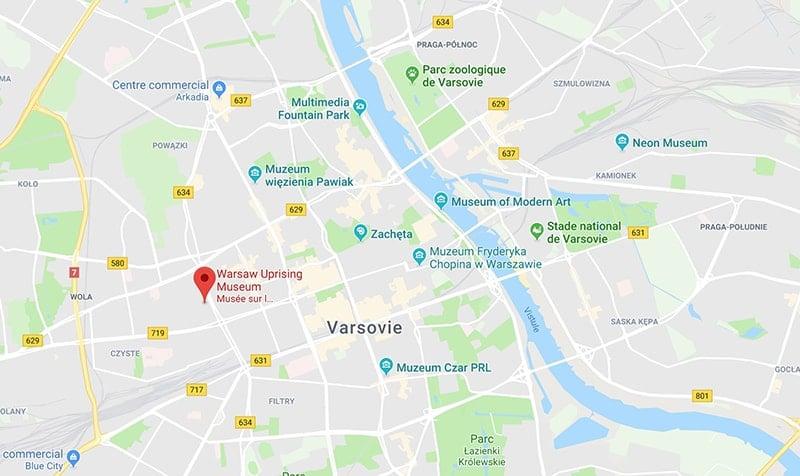 Visiter le musée de Insurrection de Varsovie carte